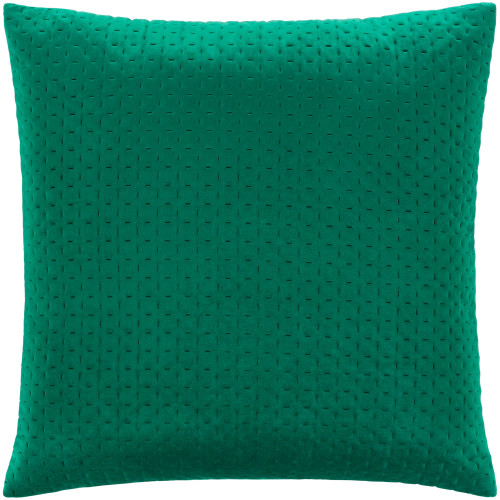 """18"""" Solid Emerald Green Stitched Square Throw Pillow - Down Filler - IMAGE 1"""
