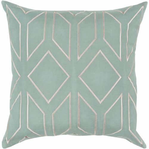 "20"" Green and Beige Geometric Square Throw Pillow Cover - IMAGE 1"