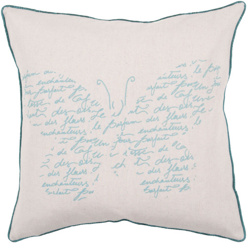 """18"""" Beige and Teal Blue Butterfly Design Square Throw Pillow Cover - IMAGE 1"""