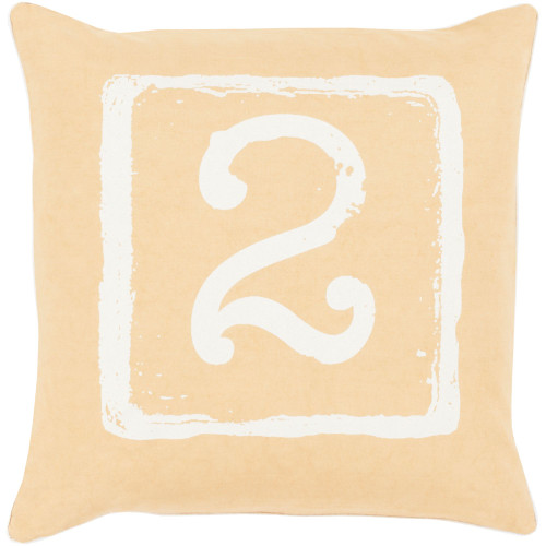 """22"""" Yellow and Ivory """"2"""" Printed Square Throw Pillow Cover - IMAGE 1"""