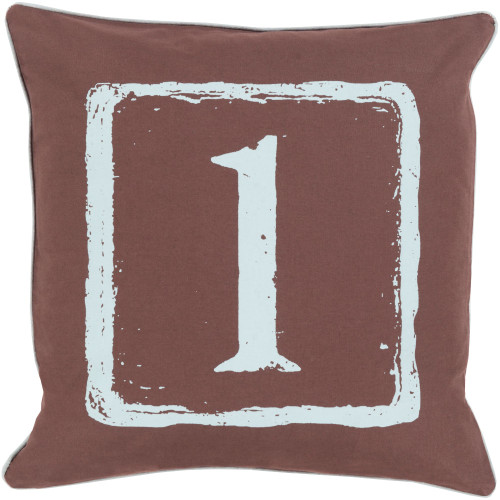 """22"""" Brown and Aqua Blue """"1"""" Printed Square Throw Pillow Cover - IMAGE 1"""