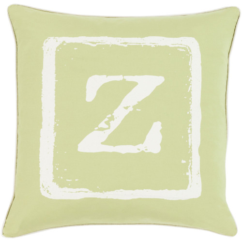 """22"""" Lime Green and White """"Z"""" Printed Square Throw Pillow Cover - IMAGE 1"""