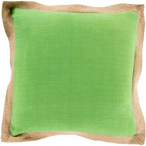 """22"""" Grass Green and Beige Solid Square Throw Pillow Cover - IMAGE 1"""