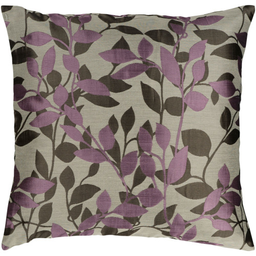 """22"""" Gray and Purple Jacquard Square Throw Pillow Cover - IMAGE 1"""