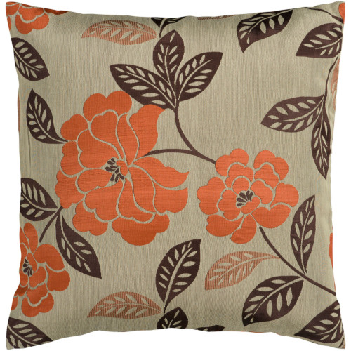 """22"""" Brown and Burnt Orange Jacquard Square Throw Pillow Cover - IMAGE 1"""