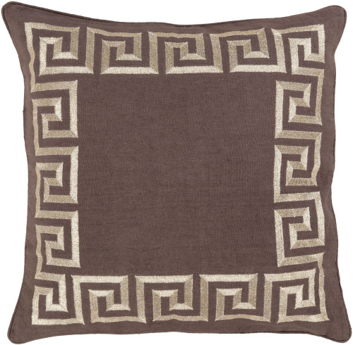 """22"""" Brown and Gold Geometric Square Throw Pillow Cover - IMAGE 1"""
