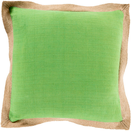 "20"" Grass Green and Beige Solid Square Throw Pillow Cover - IMAGE 1"