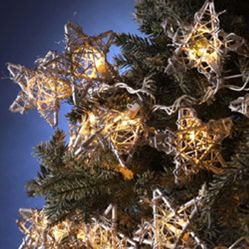 Set of 5 Country Rustic Rattan Star Novelty Christmas Lights - Clear Lights - IMAGE 1