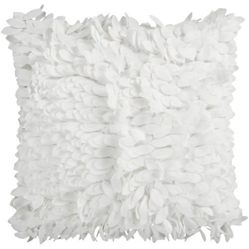 """22"""" White Textured Finish Square Throw Pillow Cover - IMAGE 1"""