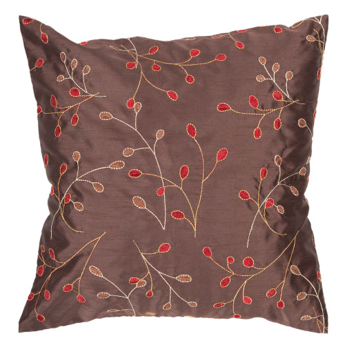 """18"""" Brown and Red Embroidered Square Throw Pillow Cover - IMAGE 1"""