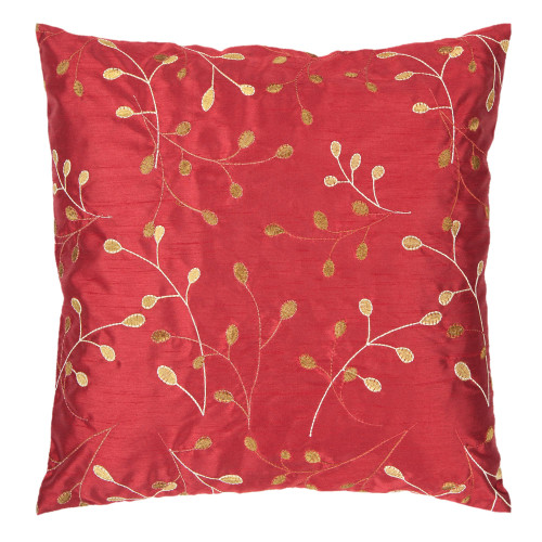 """22"""" Red and Beige Embroidered Square Throw Pillow Cover - IMAGE 1"""