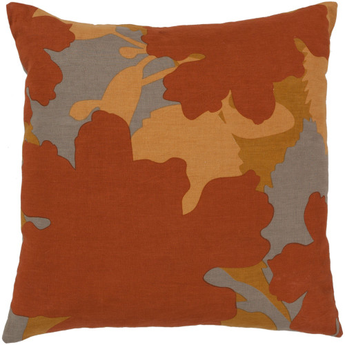 """22"""" Orange and Gray Floral Square Throw Pillow Cover - IMAGE 1"""