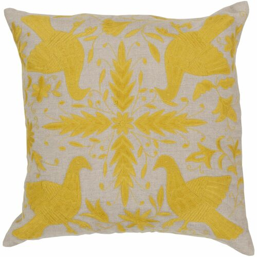 """22"""" Lime Yellow and Gray Contemporary Square Throw Pillow Cover - IMAGE 1"""