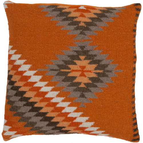 """22"""" Golden Ochre and Clay Colored Knife Edge Printed Pillow Cover - IMAGE 1"""