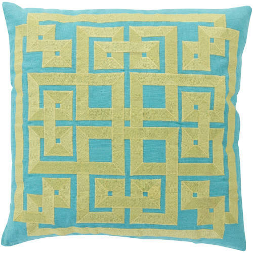 """20"""" Green and Yellow Geometric Square Throw Pillow Cover - IMAGE 1"""