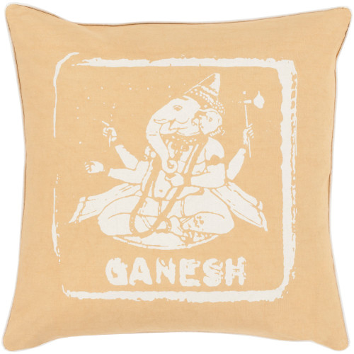 """22"""" Yellow and Ivory Lord idol Printed Square Throw Pillow Cover - IMAGE 1"""
