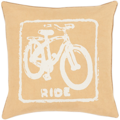 """22"""" Yellow and Ivory """"RIDE"""" Printed Square Throw Pillow Cover - IMAGE 1"""