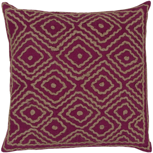 """18"""" Purple and Beige Contemporary Square Throw Pillow Cover - IMAGE 1"""