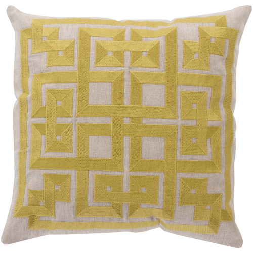 """22"""" Lime Yellow and Gray Geometric Square Throw Pillow Cover - IMAGE 1"""