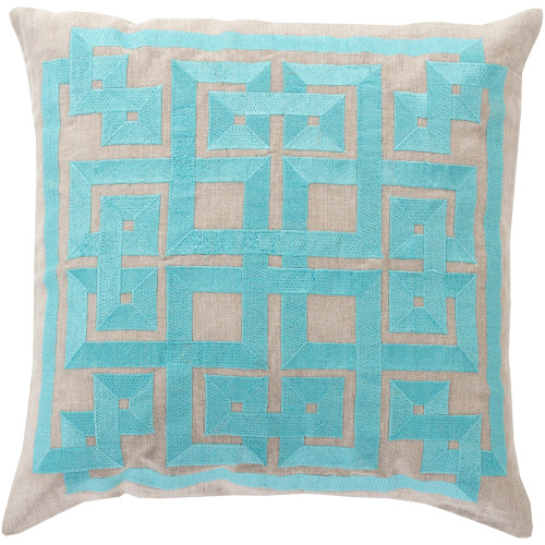 """18"""" Blue and Gray Geometric Square Throw Pillow Cover - IMAGE 1"""