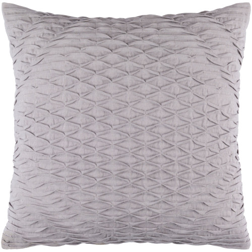 "20"" Gray Pleated Design Square Throw Pillow Cover - IMAGE 1"