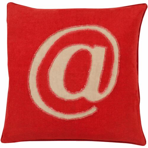 """20"""" Candy Red and Ivory White """"@"""" Printed Contemporary Style Square Throw Pillow Cover - IMAGE 1"""
