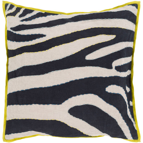 """18"""" Blue and Ivory Zebra Square Throw Pillow Cover - IMAGE 1"""