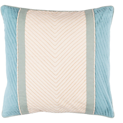 """20"""" Ivory and Sky Blue Embroidered Square Throw Pillow Cover - IMAGE 1"""
