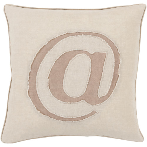 "18"" Ivory White and Taupe ""@"" Printed Contemporary Style Square Throw Pillow Cover - IMAGE 1"