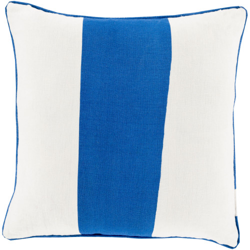 """18"""" Ivory and Blue Striped Square Throw Pillow Cover - IMAGE 1"""
