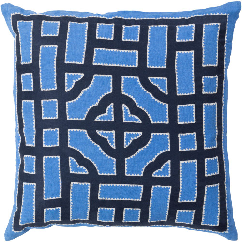 """22"""" Marine Blue and Vanilla White Geometric Square Throw Pillow Cover - IMAGE 1"""