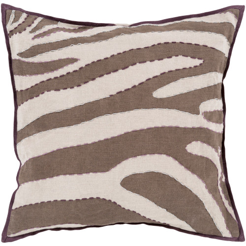 "18"" Camel Brown and Ceramic White Zebra Square Throw Pillow Cover - IMAGE 1"
