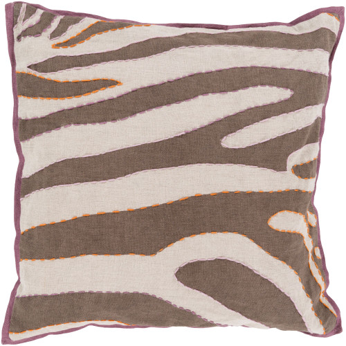 """18"""" Camel Brown and Cream White Zebra Square Throw Pillow Cover - IMAGE 1"""