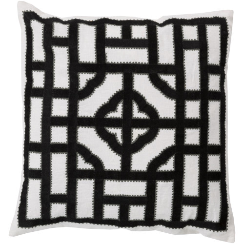 22'' Black and Ice White Geometric Square Throw Pillow Cover - IMAGE 1
