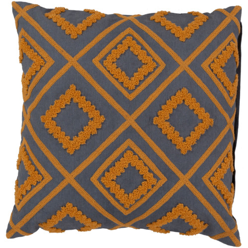 """22"""" Apricot Orange and Navy Blue Geometric Square Throw Pillow Cover - IMAGE 1"""