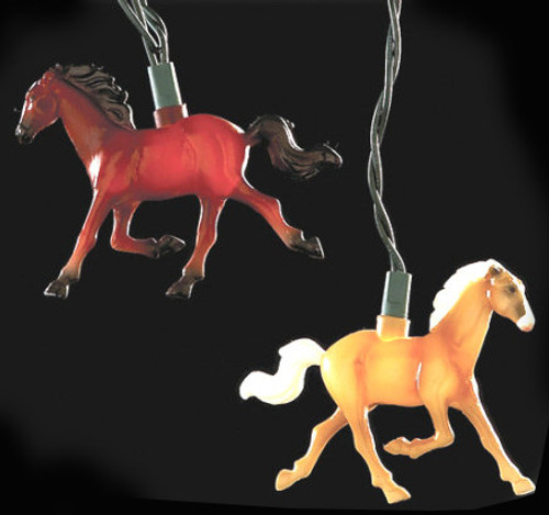 Set of 10 Running Horse Country Equestrian Christmas Lights - Green Wire - IMAGE 1