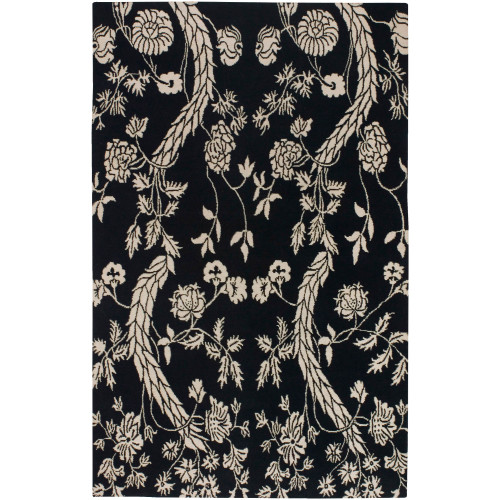 2' x 3' Floral Black and Beige New Zealand Wool Rectangular Area Throw Rug - IMAGE 1