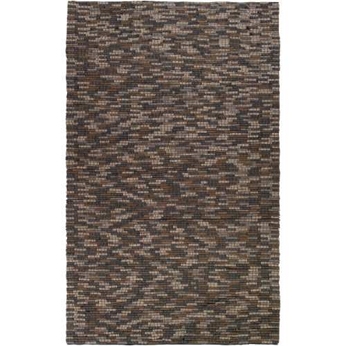8' x 10' Abstract Style Brown and Ivory New Zealand Wool Area Throw Rug - IMAGE 1