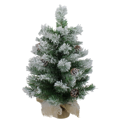 "24"" Flocked Pine Artificial Christmas Tree in Burlap Base - Unlit - IMAGE 1"