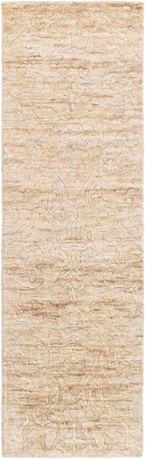 2.5' x 8' Ivory and Brown Linear Area Throw Rug Runner - IMAGE 1