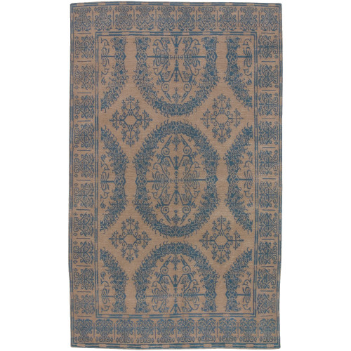 9' x 13' Traditional Blue and Brown New Zealand Wool Rectangular Area Throw Rug - IMAGE 1