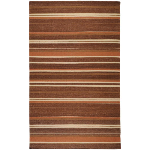 3.5' x 5.5' Striped Brown and Beige Rectangular Area Throw Rug - IMAGE 1
