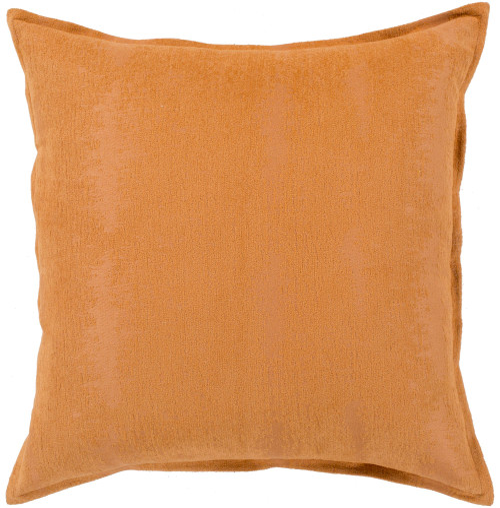 "18"" Orange Jacquard Square Throw Pillow with Flange Edge - Down Filler - IMAGE 1"