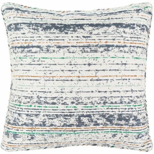 """20"""" White and Gray Striped Square Throw Pillow Cover - IMAGE 1"""