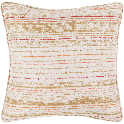 """16"""" Orange and Ivory Striped Square Throw Pillow Cover - IMAGE 1"""