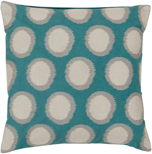 "22"" Teal Green and Gray Polka Dotted Square Throw Pillow Cover - IMAGE 1"