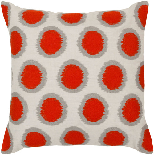 "22"" Orange and Gray Polka Dotted Square Throw Pillow Cover - IMAGE 1"
