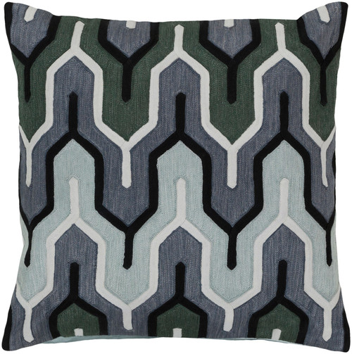 """18"""" Denim and Green Belvedere Striped Square Throw Pillow Cover - IMAGE 1"""