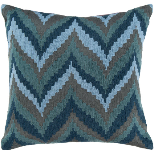 "22"" Slate Blue and Gray Chevron Square Throw Pillow Cover - IMAGE 1"