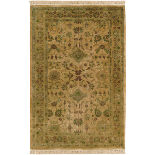 2' x 3' Floral Beige and Green New Zealand Wool Rectangular Area Throw Rug - IMAGE 1